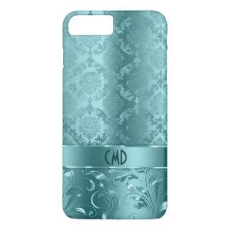 Elegant Metallic Teal-Green Damasks & Lace iPhone 7 Plus Case