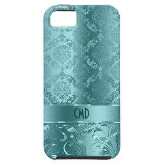 Elegant Metallic Teal-Green Damasks & Lace Tough iPhone 5 Case