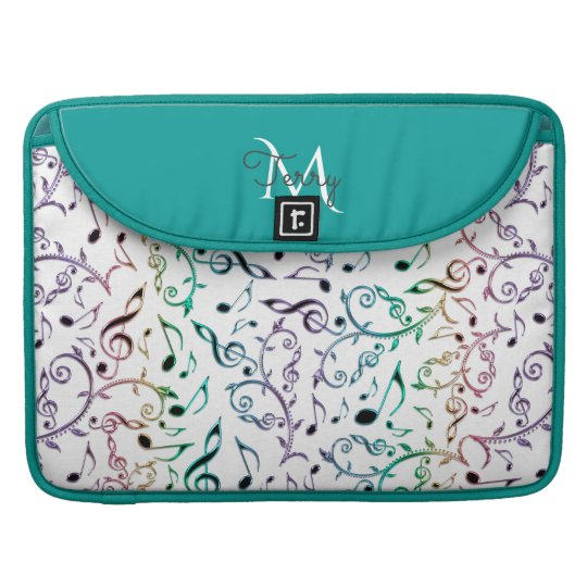 Elegant Metallic Turquoise with Music Notes Sleeve For