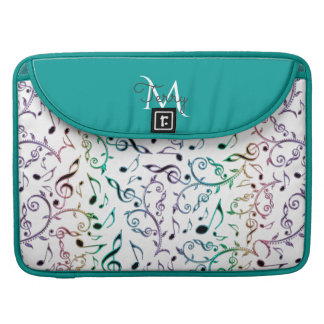 Elegant Metallic Turquoise with Music Notes Sleeves For MacBook Pro