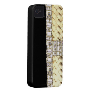 Elegant Metallic Weave & Rhinestone IPhone 4 Case