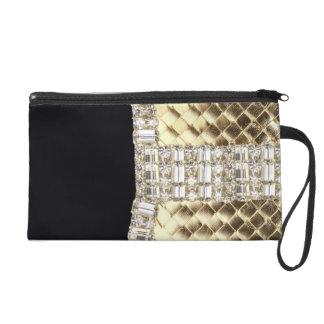 Elegant Metallic Weave & Rhinestone wrislet Clutch Wristlets