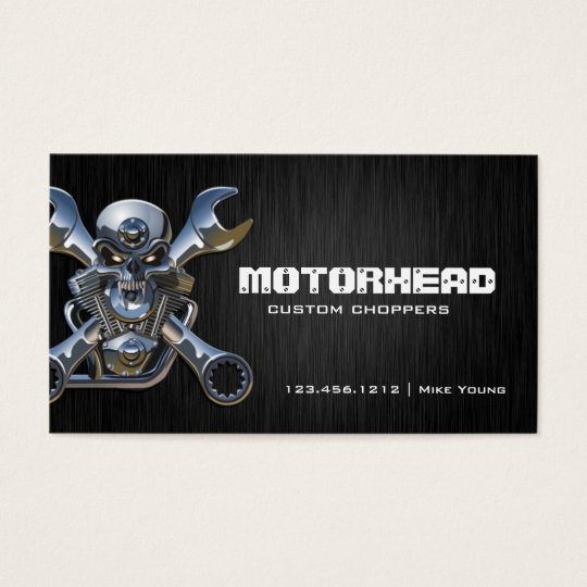 Elegant Metalwork Skull and Wrench Business Card