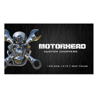 Elegant Metalwork Skull and Wrench Business Cards