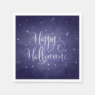 Elegant Midnight Blue Stars Happy Halloween Disposable Serviette
