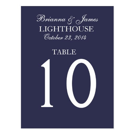 Elegant Midnight & White Wedding Table Number Card Post Cards