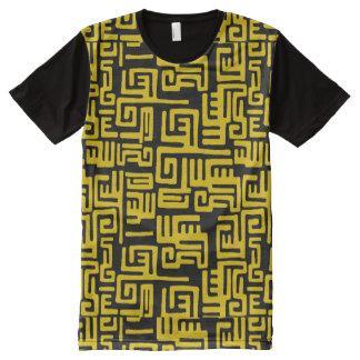 Elegant Minimal African Tribal Pattern Yellow Line All-Over Print T-Shirt
