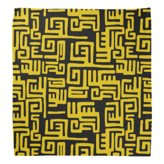 Elegant Minimal African Tribal Pattern Yellow Line Bandannas