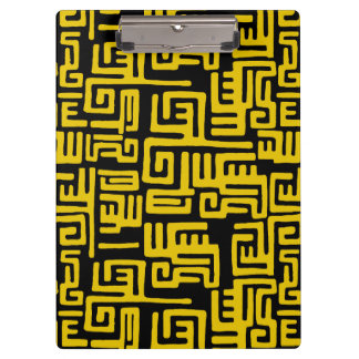 Elegant Minimal African Tribal Pattern Yellow Line Clipboard