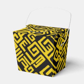Elegant Minimal African Tribal Pattern Yellow Line Favour Box