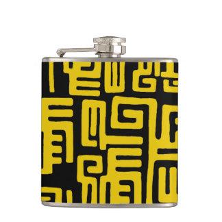 Elegant Minimal African Tribal Pattern Yellow Line Hip Flask