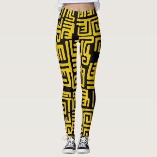 Elegant Minimal African Tribal Pattern Yellow Line Leggings