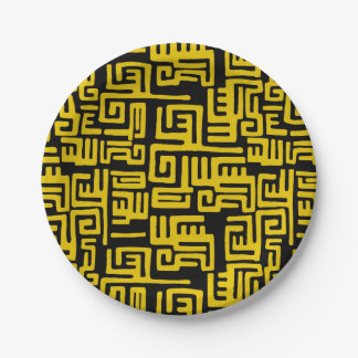 Elegant Minimal African Tribal Pattern Yellow Line Paper Plate