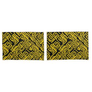 Elegant Minimal African Tribal Pattern Yellow Line Pillowcase
