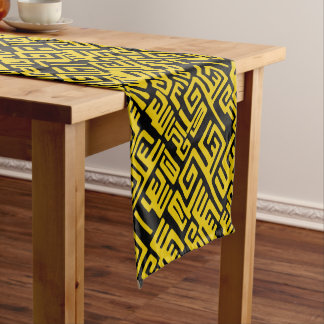 Elegant Minimal African Tribal Pattern Yellow Line Short Table Runner