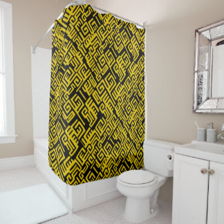 Elegant Minimal African Tribal Pattern Yellow Line Shower Curtain