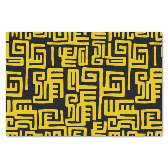 Elegant Minimal African Tribal Pattern Yellow Line Tissue