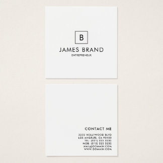 Elegant Minimal Monogram Square Business Card