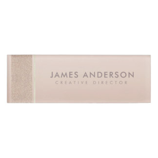 ELEGANT MINIMAL ROSE GOLD SHIMMER PERSONALIZED NAME TAG