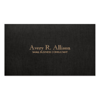 Elegant Minimalist Black Linen Look Professional Double-Sided Standard Business Cards (Pack Of 100)