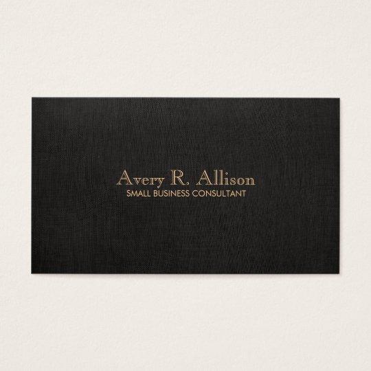 Elegant Minimalist Black Linen Look Professional Business Card