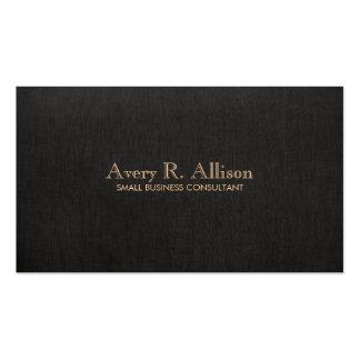 Elegant Minimalist Black Linen Look Professional Pack Of Standard Business Cards