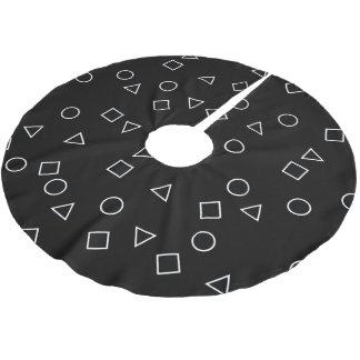 Elegant minimalist geometric pattern black white brushed polyester tree skirt