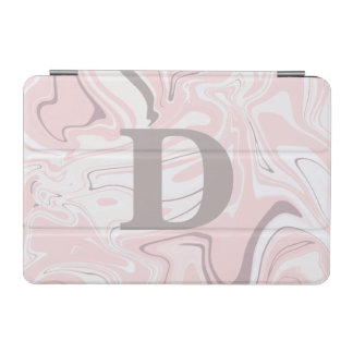 Elegant minimalist pink and white marble look iPad mini cover