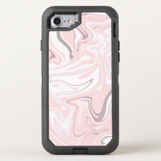 Elegant minimalist pink and white marble look OtterBox defender iPhone 8/7 case