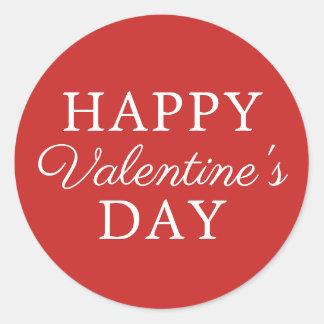 Elegant Minimalist Red White Valentine's Day Classic Round Sticker
