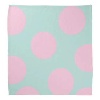 elegant mint and large pink polka dots pattern bandana