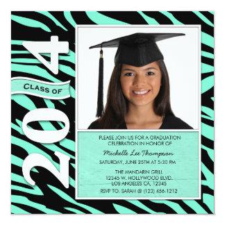 Elegant Mint & Black Zebra Stripes Class of 2014 Card
