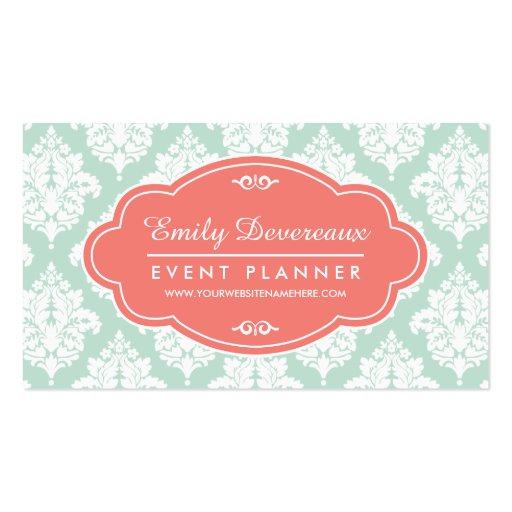 Elegant Mint Damask Personalized Business Cards