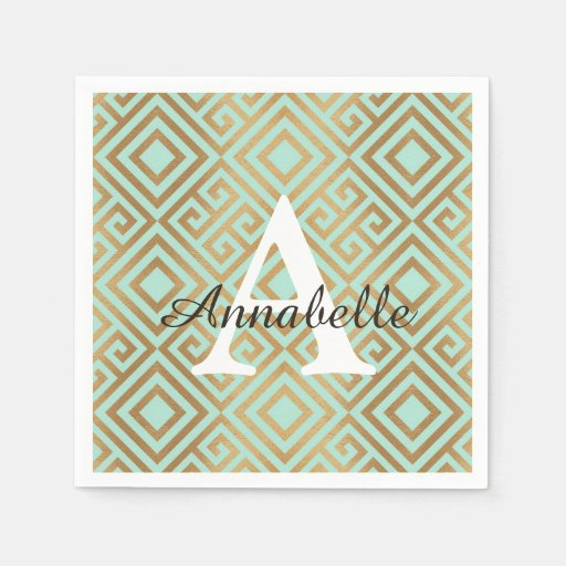 Elegant Mint Gold Glam Geometric Monogram Birthday Disposable Napkin