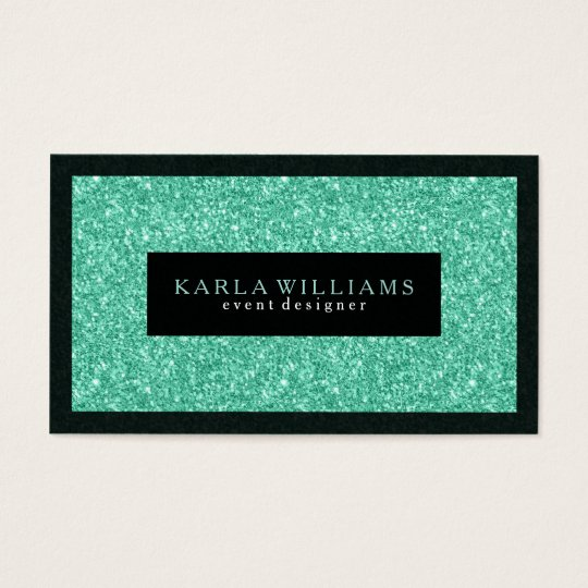 Elegant Mint-green Glitter With Black Accents Business Card