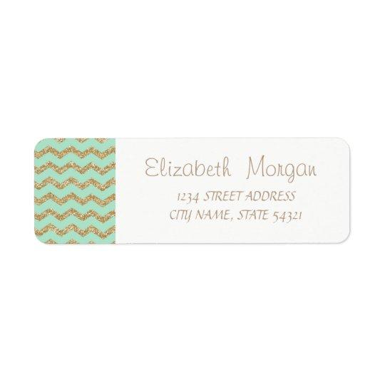 Elegant Mint Green Glittery ZigZag,  Address Label