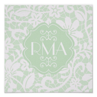 Elegant Mint Green Lace Personalized Monogram Poster