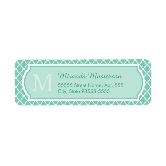 Elegant Mint Green Quatrefoil Monogram With Name
