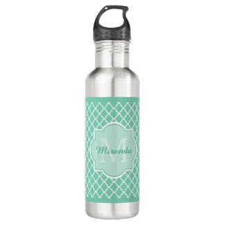 Elegant Mint Green Quatrefoil Monogram With Name 710 Ml Water Bottle