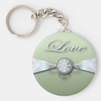 Elegant Mint Green Wedding Invitation and Favor Basic Round Button Key Ring