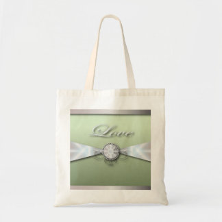 Elegant Mint Green Wedding Invitation and Favor Budget Tote Bag