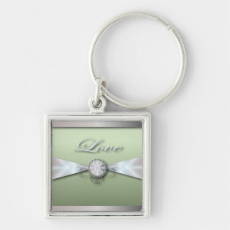 Elegant Mint Green Wedding Invitation and Favor Silver-Colored Square Key Ring