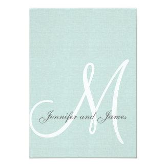 Elegant Mint Green Wedding Invitations Initial
