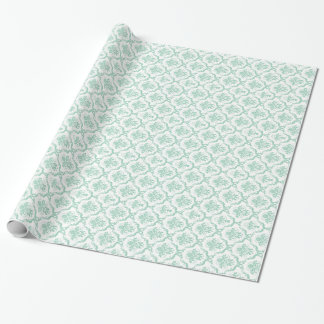 Elegant Mint-Green & White Floral Damasks Wrapping Paper