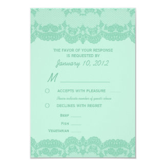 Elegant Mint Lace Wedding RSVP with Meal Options 9 Cm X 13 Cm Invitation Card