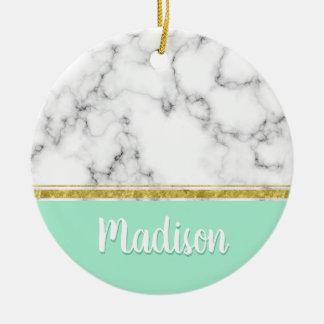 Elegant Mint Marble and Gold Custom Name Christmas Ornament