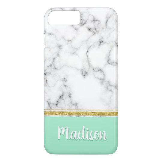 Elegant Mint Marble and Gold Custom Name iPhone 8 Plus/7 Plus Case