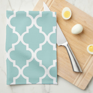 Elegant Mint Quatrefoil Tiles Pattern Tea Towel