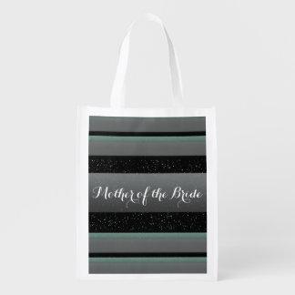 Elegant Mint, Spots, & Stripes Mother of Bride Eco Reusable Grocery Bag