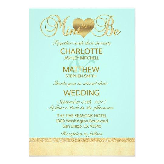 Elegant MINT TO BE Gold Modern Wedding Invitation